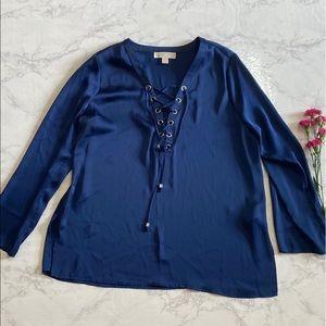 Michael Kors dark blue lace up dress shirt 12